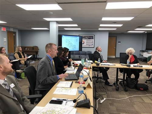 consultant addressing Board during worksession